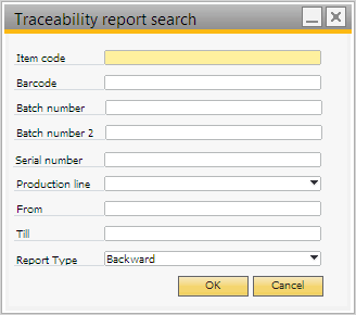 Traceability report search