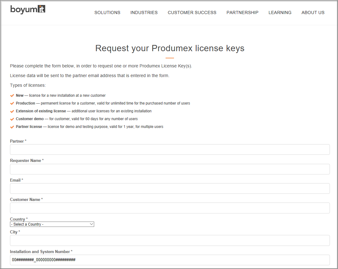 Requesting PMX license keys