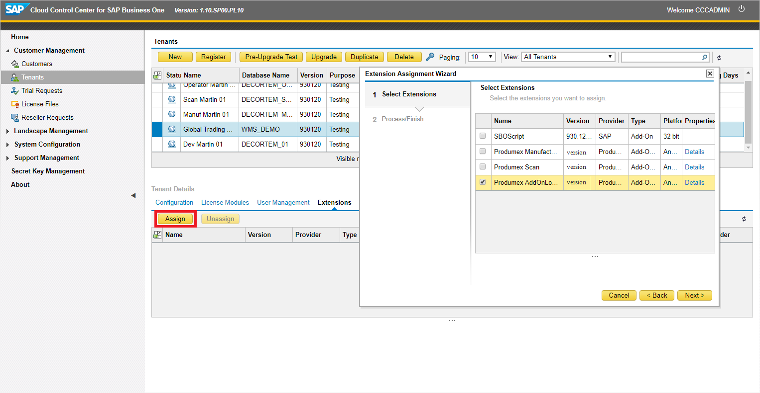 Register the add-on in SAP Cloud